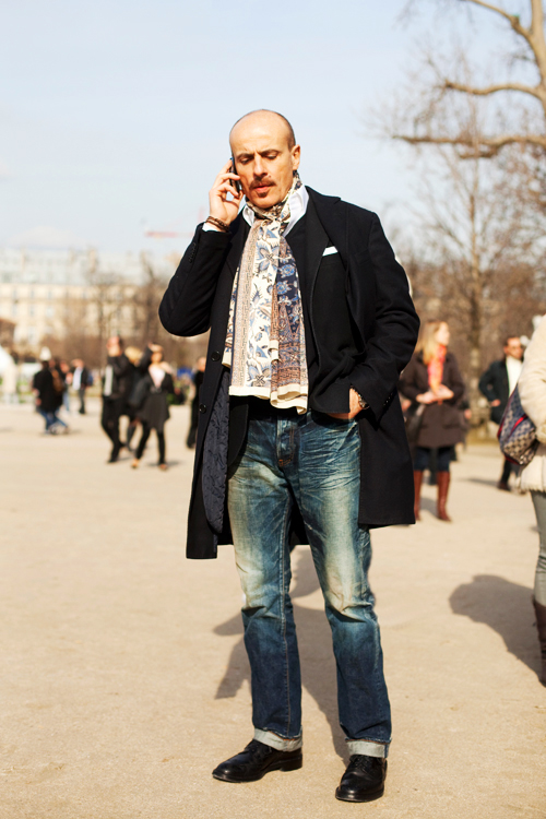 On the StreetMasculine Print Scarf Paris  The Sartorialist Men Wearing Scarves Paris