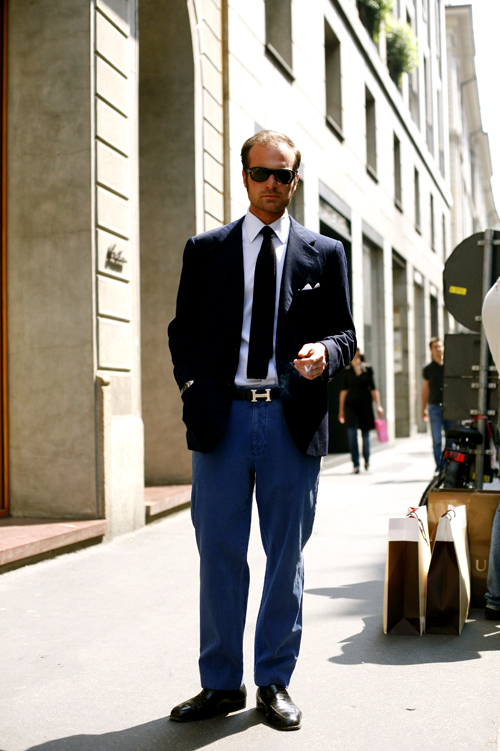 On the Street….Not Blue Jeans But Bright Blue Pants, Milan « The ...