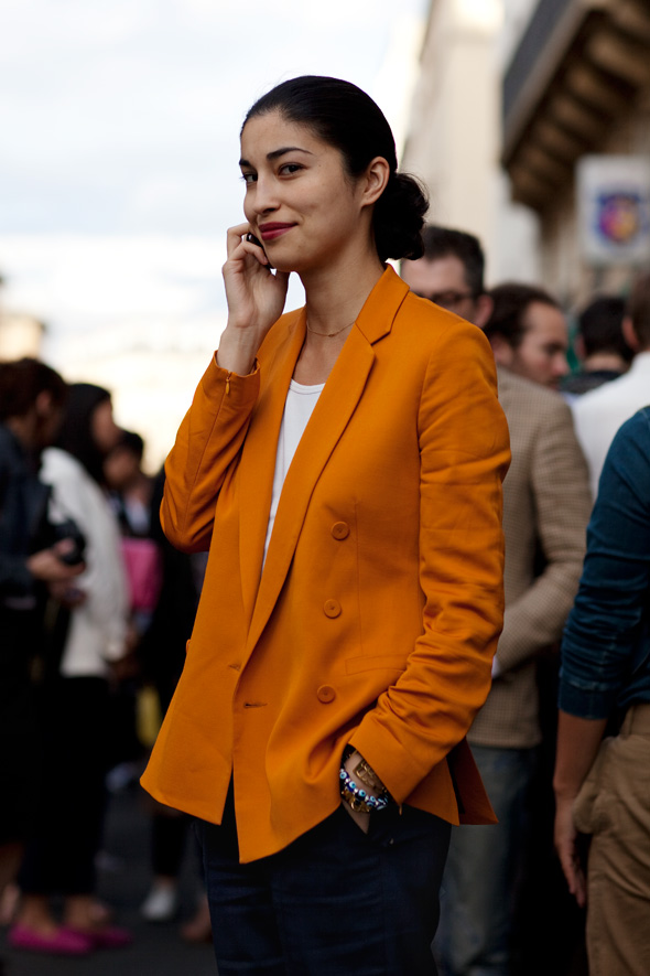 Paris street style, orange jacket