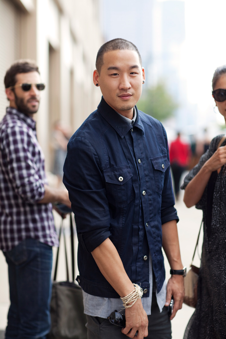 On the Street….Richard Chai in His Button-Up Jean Jacket New York