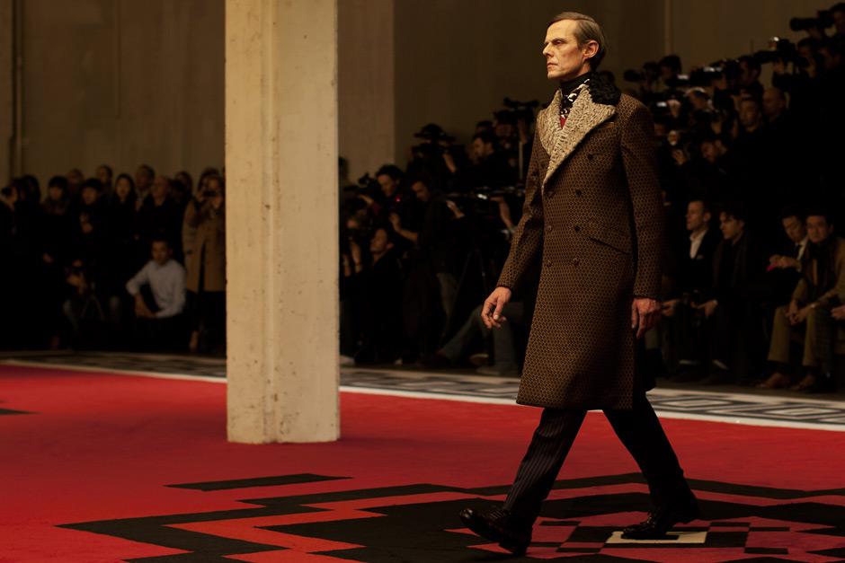 william defoe's prada leather coat