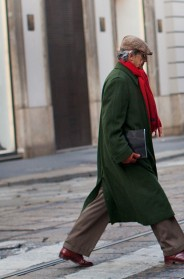 the traditional winter coat of the milanese man milan