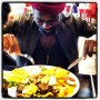 My buddy Sam diving into a giant plate of veggies, Johannesburg