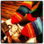 An adorable student at Wellesley whose mom knitted  her mittens based on the  mittens in this photo