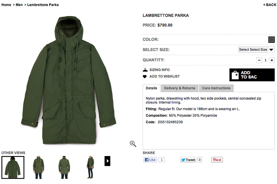 Shopping Online….Aspesi Lambrettone Parka