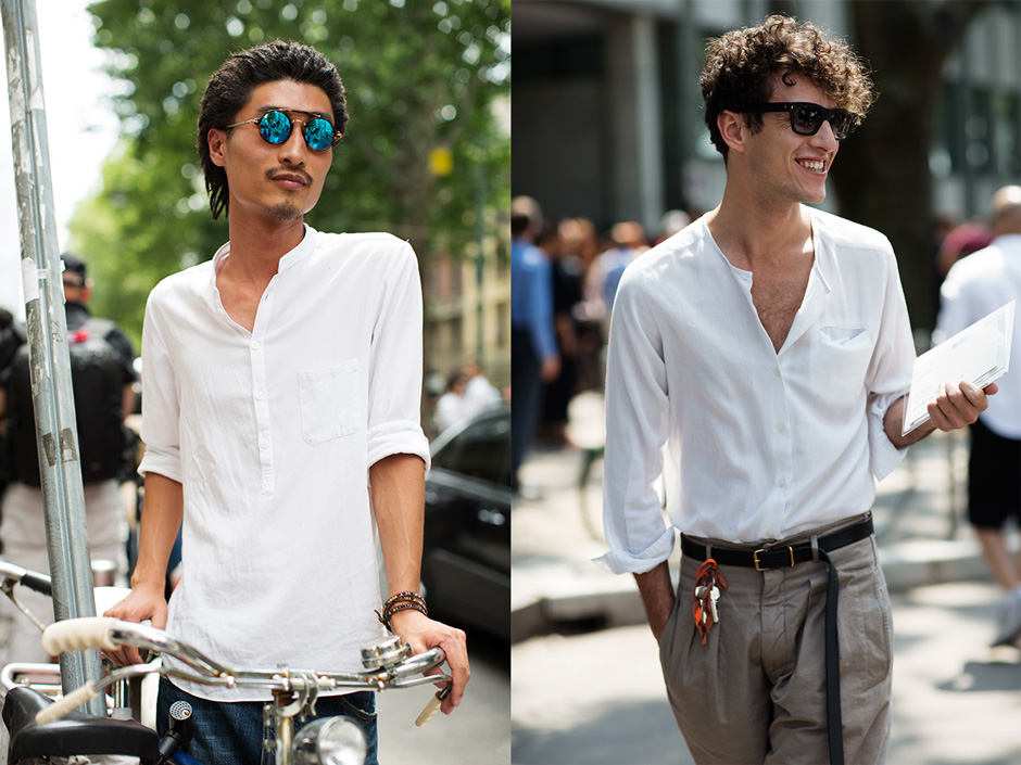 Men's Summer Trend….White Band Collar Shirts « The Sartorialist