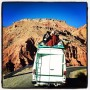 Over-packed van on the steep roads of Morocco