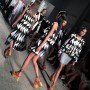 Black &White Graphics  set on top of  orange chunky platforms at Thakoon @thakoonny , New York