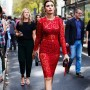 On the Street…..Piazza Oberdan, Milan  WOW, what a statement red lace can make when worn correctly