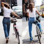 High waisted jeans, white tees with a bike seems to be the look in Nolita (chic neighborhood next to equally chic Soho in New York City) I shot these two looks at the same intersection (Prince & Lafayette) about two years apart, it still looks great to me.