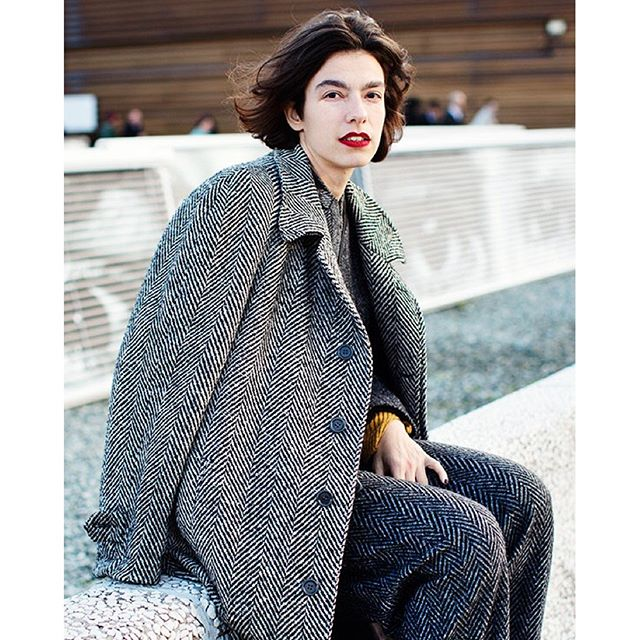 4eee53e2e6bfc Pitti Uomo (but women) I thought this woman was so chic in her mismatched  herringbone with just a pop of yellow and a slash of red lips ( a strong  brow and ...