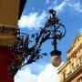 What a crazy beautiful ironwork streetlight, Via del Corso, Rome