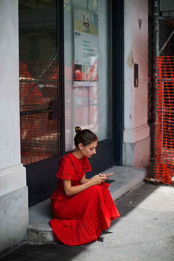 woman in red dress from sartorialist